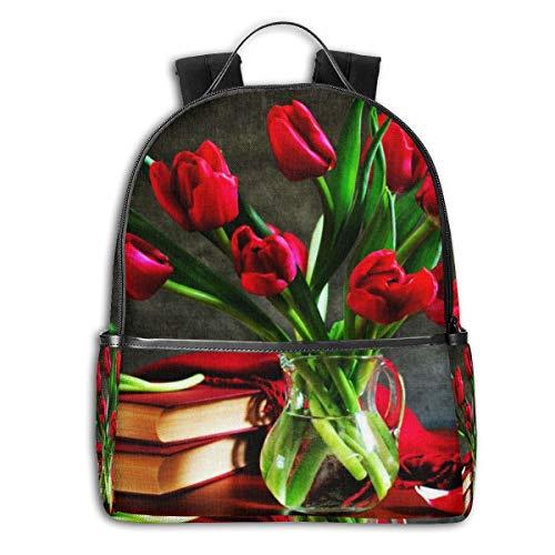 Vintage Zakelijke Tas voor Reizen, College, School, Casual Daypacks voor de mens, vrouwen, rode Tulpen in een vaas op de tafel