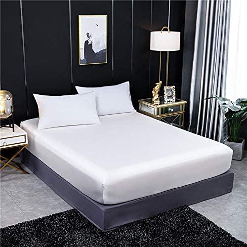 Home - Sábana bajera ajustable de seda de morera de lujo de color sólido, funda de colchón doble tamaño queen, banda elástica, calidad del hotel (color: 2, tamaño: 90 x 200 x 25 cm)