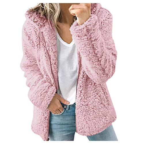 Fcostume Women's Zip Faux Lambskin Fluffy Oversized with Hood Teddy Short Jacket Coat Warm Coat Quilted Jacket with Faux Fur
