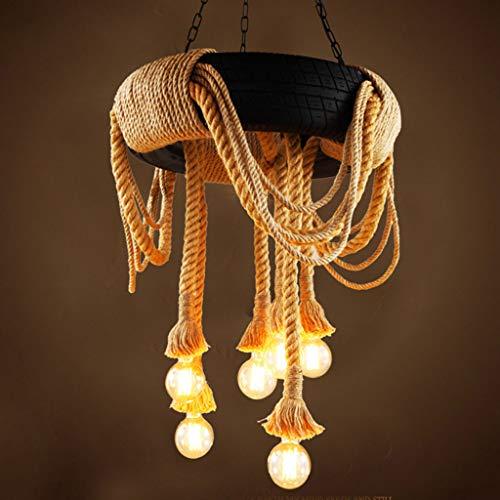 LJF Lampe . Lámpara de techo colgante de restaurante, estilo vintage, industrial, de cuerda de cáñamo
