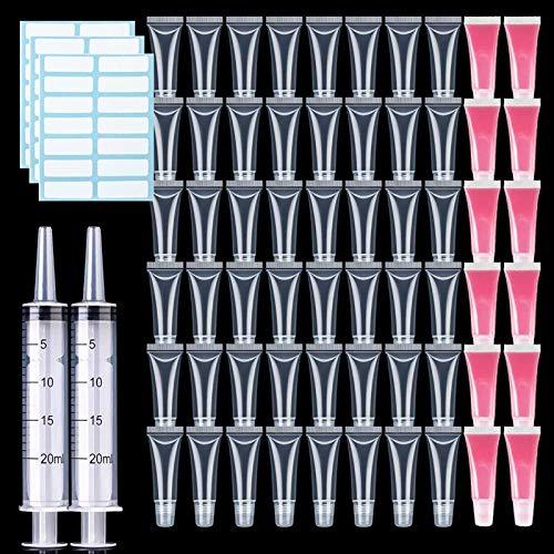 YSJJNDH Envase de Botella 50 unids 5/10 / 15ml Tubo VACÍO Tubo Lipstick Clear Soft LIP Gloss Gloss CONTENEDOR Llegar LIBGLOSOS Tubos DE Libros DIY TARJE DE DIY para Maquillaje cosmético