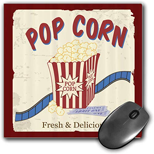 Mauspad-Spielfunktion Kino Dicke wasserdichte Desktop-Mausmatte Frische und köstliche Popcorn-Kinokarten und Streifenwerbung im Thema der 60er Jahre,Violet Blue White,rutschfeste Gummibasis