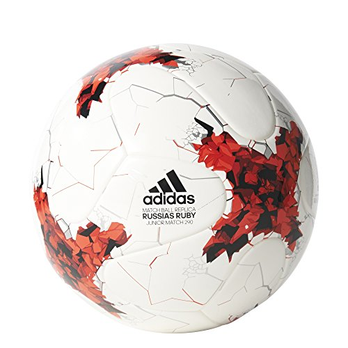 adidas Kinder Confederation Cup Junior 290 Gramm Ball, Top:White/Red/Power Red/Clear Grey Bottom:Black, 5
