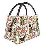Bolsa térmica portátil con cierre de cremallera, diseño de perro Airedale Terrier, con flores de primavera, diseño floral, a prueba de fugas, bolsa de almuerzo, plegable, reutilizable para picnic, viajes, escuela, almuerzo