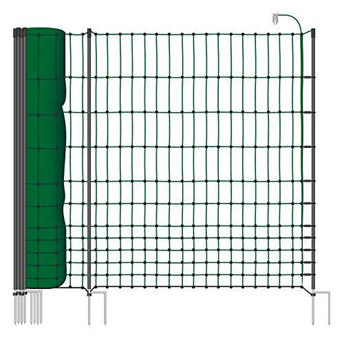 VOSS.farming Rete pollame Classic+ 50 m, per recinzioni elettrificabili, 112 cm di Altezza, a Punta Doppia, Dotata di 20 Pali, Colore Verde
