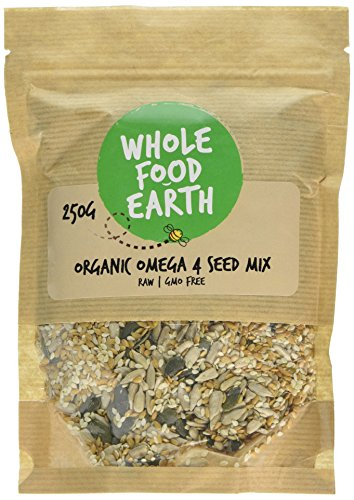 Wholefood Earth: Organic Omega 3 | 4 Seed Mix 250g | Raw | GMO Free | Contains Organic Pumpkin Sunflower Golden Linseed Hulled Sesame Seeds