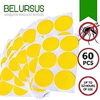 BELURSUS - Parche Repelente de Mosquitos, 100% Naturales, Personal, resellable, para Adultos y niños, 24 Horas de protección contra Insectos, 60 Unidades, 3 cm Cada uno, con Clips Amarillos