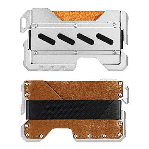 JEXICASE Dapper EDC Wallet-Genuine Leather, CNC Alum, RFID Blocking Card Bag Card Cases Money Organizers Brown A