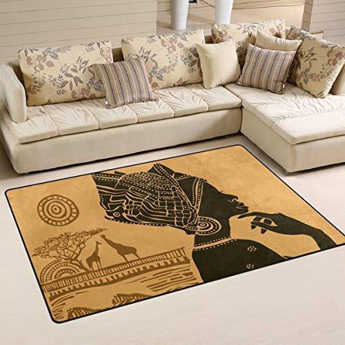 Alfombra antideslizante para decoración del hogar, estilo retro, retro, para mujer, color negro, para salón, dormitorio, 152 x 99 cm