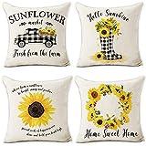 Hexagram Farmhouse Sunflower Pillow Covers 18 X 18 Inch Buffalo Plaid Truck Sunflower 4 Pieces Soft Linen Throw Pillow Covers for Sofa Couch Home Decor Farmhouse Decorative Pillowcase