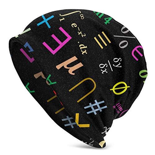 Mxung Símbolos de matemáticas BlackUnisex Mujeres Hombres Slouchy Beanie Hat Gorro de Calavera Holgado de Gran tamaño Gorro de Punto elástico