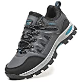Topwolve Zapatillas de Senderismo para Hombre Zapatillas de Trekking Botas de Montaña Antideslizantes Al Aire Libre Zapatos de Deporte,Gris,45 EU