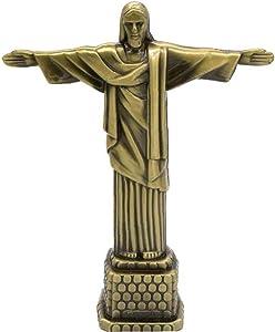 PiniceCore Jesus Cross Metal Brazil Crist Redentor Jesus Figurine Christ The Redeemer Statue Jesus Christ Statue Catholic Gift Home Decor