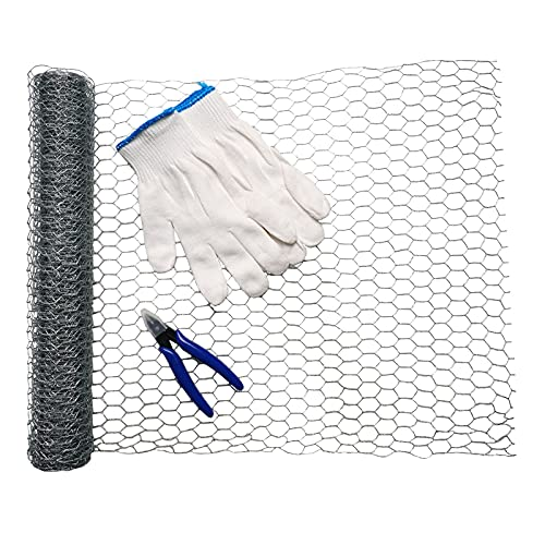 Ha1cyon 15 x 200 Inches Large Chicken Wire Fencing Poultry Wire Mesh Fence Rolls for Yard Garden Decor Netting Crafting with Cutting Pliers and Cut Resistant Gloves
