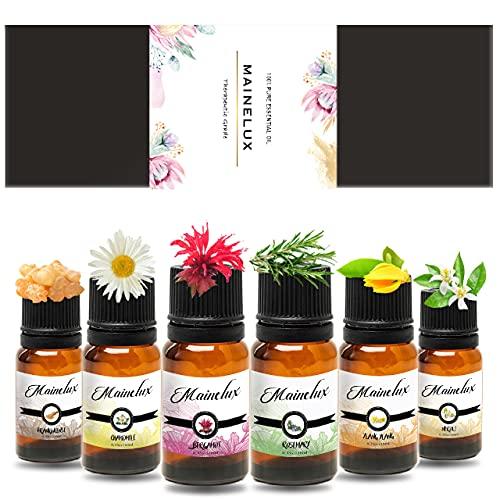 MAINELUX Flores Aceites Esenciales para Humidificador, 100% Natural Puro Aromaterapia (Neroli, Bergamota, Romero, Yanlg Yanlg, Incienso, CamomilaTop 6 Set de Regalo de Aceites Aromáticos 6 x 10 ml