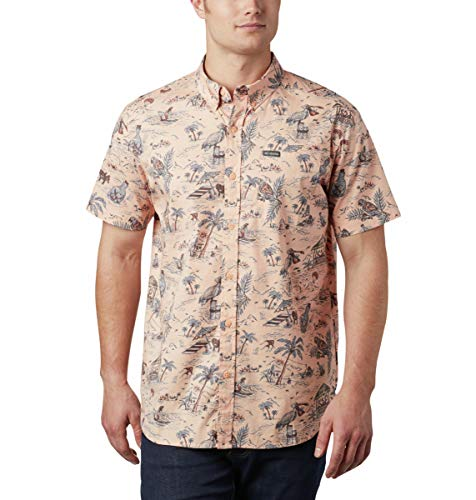 Columbia Men's Rapid Rivers Short Sleeve Shirt, Light Coral Lost in Paradise Print, Small