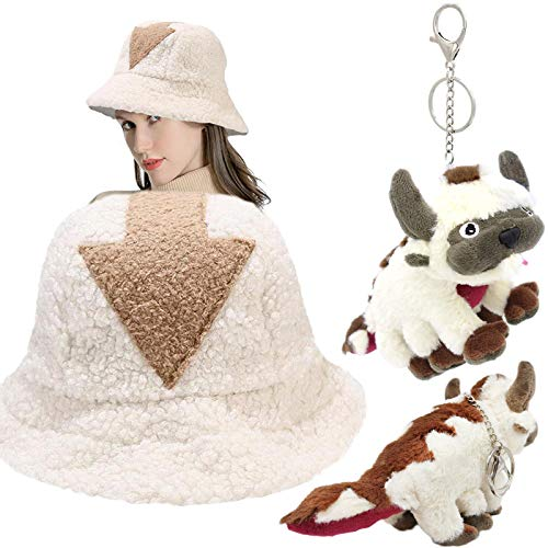 Cute Appa Bucket Hat Lamb Wool Hat with Appa Keychain Pendant Plush Doll and 2 Pcs Appa Collectible Pin Backpack Clothes Brooches for Men Women (Appa hat+ 1pcs Appa Plush Keychain)
