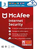 McAfee Internet Security 2020, 3 Dispositivos, 1 Año, Software Antivirus, Manager de Contraseñas, Seguridad Móvil, PC/Mac/Android/iOS, Edición Europea, Código de activación enviado por email