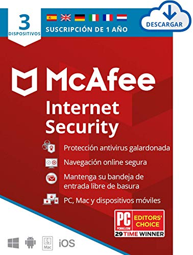 McAfee Internet Security 2021, 3 Dispositivos, 1 Año, Software Antivirus, Manager de Contraseñas, Seguridad Móvil, PC Mac Android iOS, Edición Europea, Código de activación enviado por email