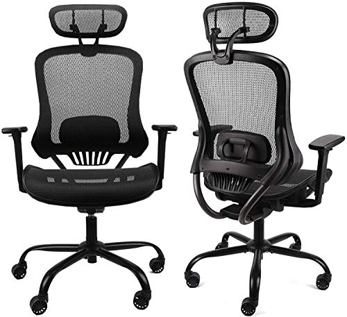 Komene Ergonomic Office Desk Chair - Adjustable Backrest and Headrest with 3-D Armrest and Lumbar Support, Mesh Desk Chair Metal Base, Executive Swivel Computer Chair, Black