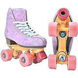 Patines dobles para mujer, patines rosados de piel sintética con solapa, suela de goma, rueda de Pu, zapatos de patinaje de velocidad profesionales para adultos(Size:36)