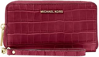 c844e95f3fb7e9 Michael Kors Large Flat Multifunction Embossed Leather Phone Case Wallet /Wristlet
