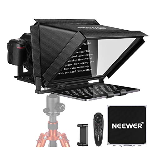 Neewer 12-inch Teleprompter for iPad Tablet Smartphone DSLR Cameras with Remote Control, APP Compatible with ISO/Android for Online Teaching/Vlogger/Live Streaming, Carry Case Included