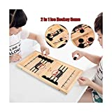 Ice Hockey Tabletop Game Table for Kids, Funiup Home Catapult Chess Bumper Table Bouncing Chess Wooden Competitive Desktop Battles Ball at Home (56x30x2.5cm)