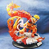 QIYHBVR Naruto Anime Statue Naruto in The End Valley Nine Tails Naruto Whirlpool Illuminated Doll Version Statue Doll Sculpture Toy Decoration Model Height 33cm