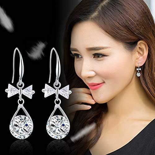 S925 Sterling Silver Stud Earrings, Personalized Cute Crystal Bear Earrings, Female Ear Jewelry Earrings Bow tie water drop silver