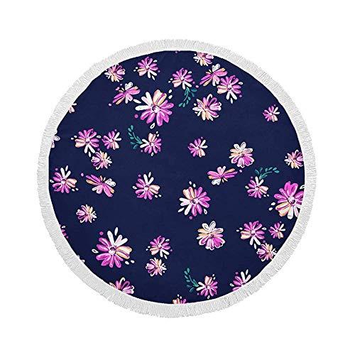Manta de Toalla de Playa Redonda, Ditsy and Colorful Daisy, Esterilla de Yoga Circular Grande de Gran tamaño de 59 Inch con borlas de Flecos
