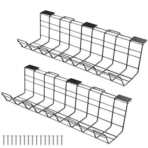 qipuneky Organizador de cables de escritorio,para fácil gestión de cables, soporte para cables de metal para oficina y cocina (negro)