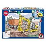 Schmidt Spiele, Puzzle Infantil de 40 Piezas con Excavadora Siku, Color carbón (56350)