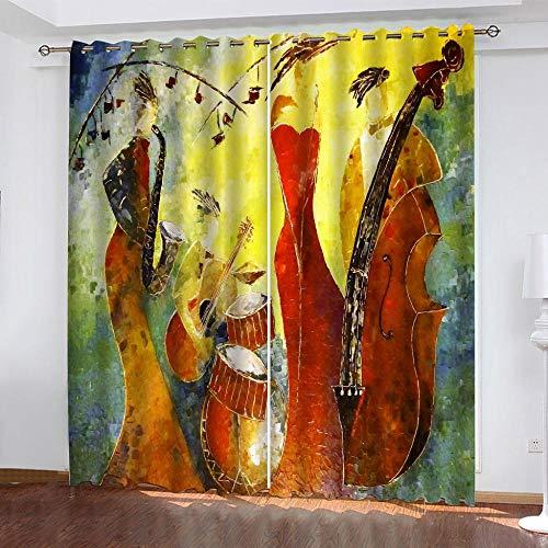 FSMYQH Cortinas Salón Opacas Aislantes Térmicas Musica Abstracta Cortinas Opacas para Ventanas Dormitorio Salón Moderno 234 x 137 cm