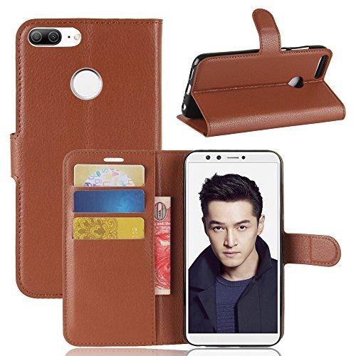 Funda® Flip Portefeuille Coque pour Huawei Honor 9 Lite (Marron)