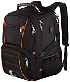 Travel Backpacks for Men, Extra Large College School Laptop Bookbags with USB Charging Port,RFID TSA Friendly Water Resistant Business Computer Bag with Luggage Sleeve Fit 17.3 Inch Laptop 45L,Orange