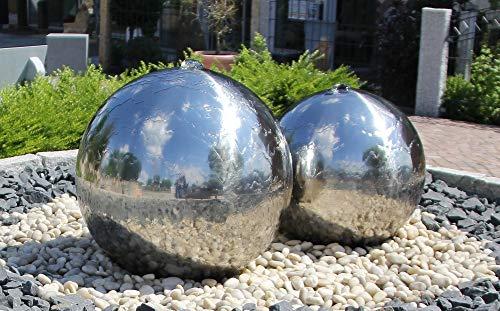 Kugelbrunnen 50 cm Incl. LED Komplettset Gartenbrunnen Wasserspiel Edelstahl Poliert