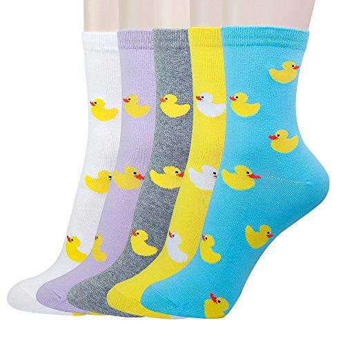 KONY 5 Pack Women's Cute Animal Socks Cotton Cat Dog Duck Patterned Novelty Fun Crew Socks Gift Size 6-9 (Ducks)