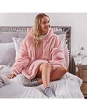 Sienna Hoodie Deken Ultra Zachte Sherpa Fleece Warm Cosy Comfy Oversized Draagbare Reus Sweatshirt Gooi voor Vrouwen Meisjes Volwassenen Mannen Jongens Kids Grote Pocket - Blush Roze