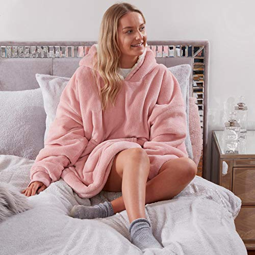 Sienna Hoodie Blanket Ultra Soft Sherpa Fleece Warm Cosy Comfy Oversized Wearable Giant...