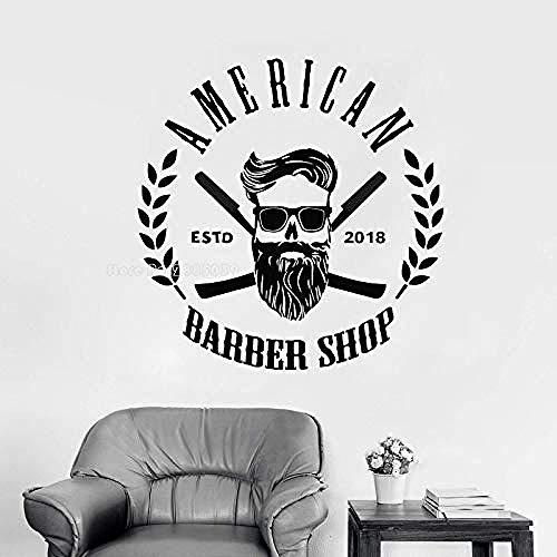 Creative Art Vinyl Pegatina de pared Barbería calcomanías para ventanas moda hombres tijeras de peluquería cabeza rapada corte de pelo logo escaparate de pared hermoso 67x68 cm