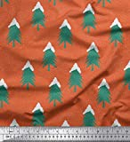 Soimoi Orange japanischer Kreppsatin Stoff Schnee- und Baum