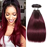 7A Grade Ombre Straight Hair 3 Bundles Ombre Human hair Burgundy Straight Hair Brazilian Remy Hair Human Hair Weave Extensions 2 Tone #1B 99J Color 22 24 26 inches