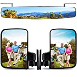 Roykaw Golf Cart Mirrors Rear View Folding Side Mirrors for Club Car EZGO Yamaha Combo Pack