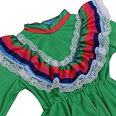 Mexican Girl Senorita Costume Child Traditional Jalisco Dresses Day of The Dead Party Costume Folklorico Dance Dress