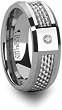 Thorsten Royce Tungsten Carbide Contemporary Metal Wedding Band Ring with Single Diamond and Carbon Fiber Inlay 8mm Wide Custom Personalized Inside Engraved from Roy Rose Jewelry