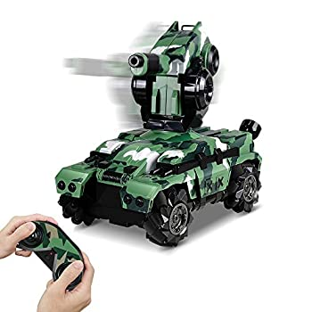 RC Tank Car 12In Waterproof with 180° Rotating Shooting & 360° Rotating Vehicle 2.4Gz Remote Control Military Battle Tank Toy Gift for Adult Boys Girls Teens Christmas