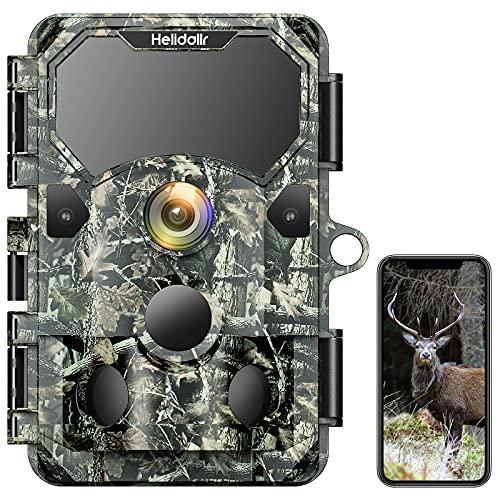 Helidallr Fototrappola da Caccia 4K 30MP IP66 Impermeabile Trigger 0,2s Macchine fotografiche da Caccia 850nm 36 IR LED Visione Notturna Fotocamera da Caccia con APP 120° Angolo di Rilevamento PIR