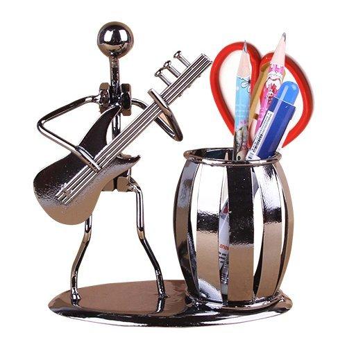 AlleTechPlus Metal Art Crafts Pencil & Pen Holder Display - Decorative Guitar Theme Desktop Supply Organizer