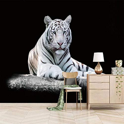 QHDHGR Wallpaper Mural Photo Black & White & Tiger Living Room Bedroom Ceiling Zenith Mural 3D Decoration Background Wall Paper 400cm(W)x280cm(H)
